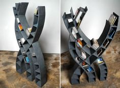 'Cool Bookshelves and Creative Bookcases' that will store your books and display them in style. Minimalist Bookshelves, Creative Bookshelves, Modern Bookshelf, Bookshelf Design, Unique Furniture, Cheap Furniture, Furniture Ideas, Book Furniture, Cardboard Furniture