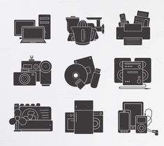 Home electronics. 9 icons. Vector