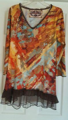 1208d0e749d Amma Design Made in La Tunic Top Ruffled Hem Bright Print Sz Large L | eBay