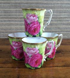 Hand Painted Porcelain Tea Cups Porcelain by HoneyBeeHillVintage