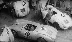 Spyder prep at the Teloché Garages near LeMans Circuit. I make no bones about the fact that the Porsche 550 Spyder is my all-time favorite racing car. Porsche 911 Rsr, Porsche Cars, Porsche Classic, Classic Cars, Ferdinand Porsche, Sports Car Racing, Race Cars, Le Mans, My Dream Car