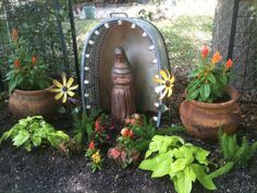 handmade virgin mary mosaic shrine from galvanized tub, by Dana Jepson