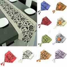 Wedding Decor Raised Flower Blossom Flocked Damask Table Runner Imitated silk fabric Home Textile Table Runner Home Decor