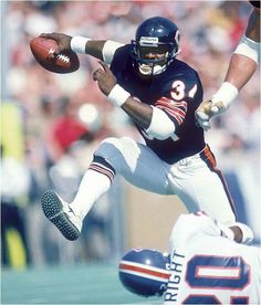 "Walter Payton, running back for the Chicago Bears."" When he was inducted into the NFL Hall of Fame in his Hall of Fame coach Mike Ditka said: ""He's the greatest football player I ever saw, and even greater as a human being. Bears Football, Nfl Bears, Nfl Football Players, Chicago Bears, Football Rules, Nfl Photos, Walter Payton, Football Conference, Vintage Football"