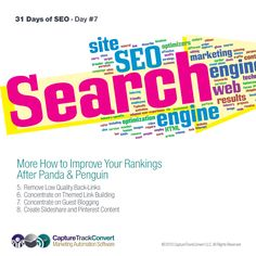 31 Days of SEO Tips & Tricks DAY #7 - More On How to Improve Your Rankings After Panda & Penguin - Get your daily SEO vitamin CLICK THE IMAGE