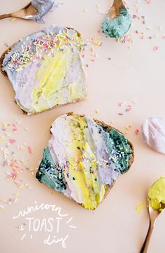 Unicorn-themed treats are all the rage, and the children in us rejoice at the edible rainbows! Naturally dyed with ingredients like spirulina, beet, turmeric, and berries, this Unicorn Toast is just as exciting to make as it is to eat. Plus, the superfood antioxidants make it (kind of) healthy... sprinkles are just a bonus. We're so excited to share this unicorn concoction!
