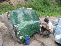 A 20-ton jade boulder found at the Polar Jade mine near Dease Lake in northwestern BC