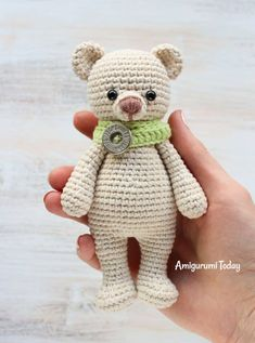 Cuddle Me Bear Amigurumi Pattern This little crochet bear is always ready for a sweet and squishy hug! Create one in your favorite color :) The Cuddle Me Bear Amigurumi Pattern will take y Crochet Patterns Amigurumi, Amigurumi Doll, Crochet Dolls, Knitting Patterns, Crochet Mignon, Crochet Teddy Bear Pattern, Stuffed Animal Patterns, Cute Crochet, Crochet Animals