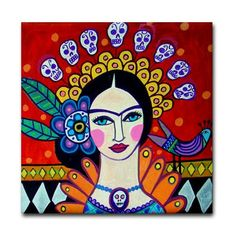 SALE ENDING - Day of the Dead Frida Mexican Folk Art Print Panel of Painting Ready To Hang       Frida Kahlo Sugar Skulls