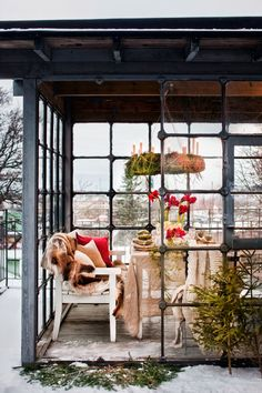 Love this glassed in porch!  | Best Winter Garden Home Design Ideas. See more inspirational ideas at http://www.pinterest.com/homedsgnideas/winter-garden-home-design-ideas/