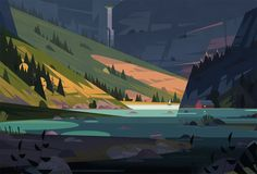 Chapter opening illustration for an article about hydro power. Landscape Illustration, Landscape Art, Graphic Illustration, Art Environnemental, Bg Design, Animation Background, Environment Concept, Environmental Design, Visual Development