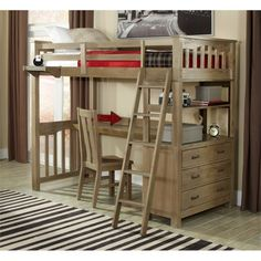 Lowest price online on all NE Kids Highlands Twin Loft Bed with Desk in Driftwood - 10070ND