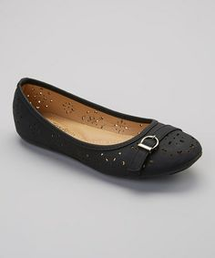 Another great find on #zulily! Black Cutout Buckle Flat by Tory Klein #zulilyfinds