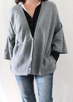 Pure Jill J. Jill Cotton Cashmere Kimono Sleeve Oversize Cardigan Gray Sz M #JJill #Cardigan