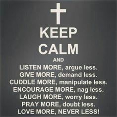 Keep Calm.  Good message - Simply said.