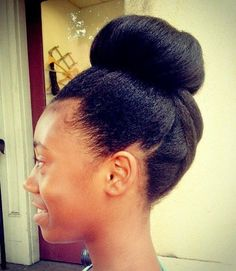 Go to http://www.dawnali.com/long-real-black-hair-natural-and-relaxed-super-growth-oils/ for hair growth. top bun for natural hair #dawnali Dawn Ali