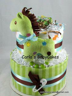 Neutral Baby Cake Giraffe Diaper Cake Baby by MsCarlasBabyCakes, $38.00