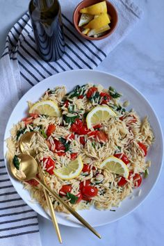 Looking for a quick and easy summer side dish? This vegan lemon orzo pasta salad is ready in about 15 minutes and pairs with just about anything! Perfect for taking to a summer BBQ, potluck dinner, or picnic this light and refreshing pasta salad is sure to hit the spot! Orzo Recipes, Side Dish Recipes, Pasta Dishes, Food Dishes, Roasted Grape Tomatoes, Lemon Orzo, Potluck Dinner, Easy Pasta Salad Recipe, Summer Pasta Salad