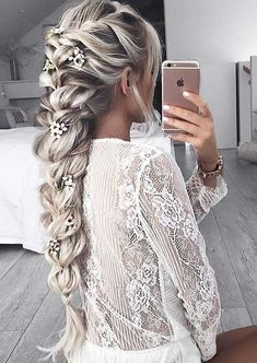 100 Trendy Long Hairstyles for Women: Flower-Embedded Braid #PromHairstylesStraight