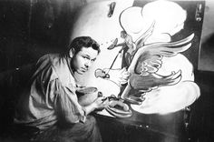 Fred Rice of Alamosa, Colorado,working on the cowling of Pierce Wiggin's Thunderbolt, was equally prolific in 336, where his services were hotly sought after.  He is responsible for the nose art on perhaps the most famous Debden Mustang of all, Don Gentile's Shangri-La.