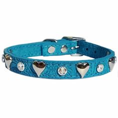 Hearts and Clear Swarovski Crystals decorate this pretty turquoise suede leather collar for cats, toy breeds and other small dogs.