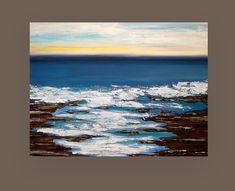 Peinture acrylique Art abstrait sur toile intitulée : haut de la côte 36x48x1.5 » par Ora Birenbaum