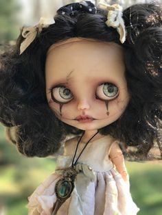 This listing is reserved for M.W.; do not buy!  Payment Summary: Deposit Received 4/4/17, $100 Balance of $425 + shipping due by 5/1/17  Noire is a unique translucent OOAK TBL (fake) Blythe on a jointed body. She is a creepy little beauty with fine vein detail on her face. She has beautiful black curls.  Noire will not come with the outfit pictured; she will travel in a cute dress and stockings of my choosing.  Noires pictures do not have filters applied.  She has been ve...