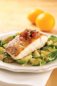 White Fish Provençal : This delicious, healthy recipe brings the flavors of the south of France to your table. Serve over roasted Brussels sprouts, if desired. Fish Dishes, Seafood Dishes, Fish And Seafood, Main Dishes, Fish Recipes, Seafood Recipes, Cooking Recipes, Healthy Recipes, Gourmet Recipes