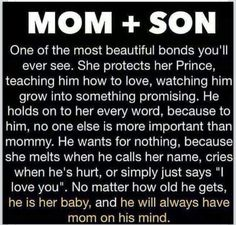 Mom and Son, an unbreakable bond.