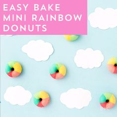 This Mini Rainbow Donuts dessert video recipe DIY tutorial is the cutest thing you'll ever make.