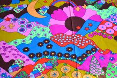 Vintage Fabric - Mod Psychedelic Landscape - By the Yard