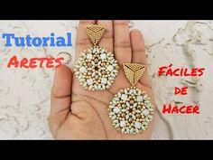 COMO HACER ARETES CON DIAMANTE DUO - TUTORIAL - YouTube Seed Bead Earrings, Beaded Earrings, Crochet Earrings, Beading Patterns Free, Beaded Bracelet Patterns, Beading Projects, Beading Tutorials, Jewelry Making Tutorials, Bead Art