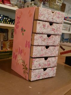 diy cardboard box storage | These are cardboard drawer units, with the drawers still open to dry