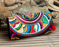 Changnoi Beautiful Fair Trade Boho Wallet, Women Purse with Hmong Hill Tribe Embroidered, Pom Pom Zip Pull Bags Online Shopping, Online Bags, Hippy Chic, Womens Purses, Casual Bags, Boho, Beautiful Bags, Purse Wallet, Clutch Purse