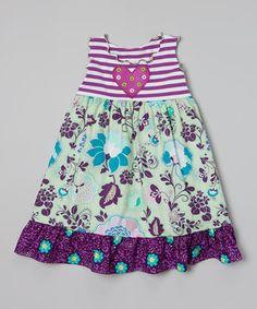 Look what I found on #zulily! Purple & Sage Flower Ruffle Dress - Toddler & Girls by Tutu & Lilli #zulilyfinds