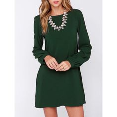 Army Green Long Sleeve Casual Dress ($15) ❤ liked on Polyvore featuring dresses, green, short green dress, short sleeve dress, army green dress, olive dress and long sleeve stretch dress