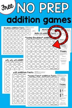 """no prep addition games EXCELLENT COURSE OF ACTION FOR TEACHING ADDING 1-10: +0, +1, +2 +10 Doubles facts Make 10 facts """"Using 10's"""" facts """"Using doubles"""" facts"""