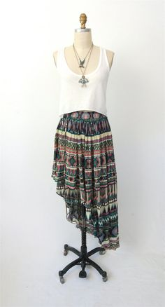 Southwest high low upcycled skirt / vintage 80's / by hausofmirth, $54.00