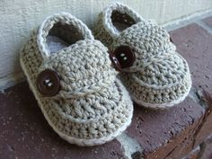Crochet baby boy booties loafers shoes Made To by SilverSpoonTots, $18.00