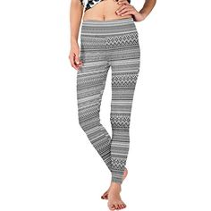 WDYSECRET Black And White Line Polyester Stretch Tight DIY Yoga Pants *** Check out this great product.(This is an Amazon affiliate link and I receive a commission for the sales)