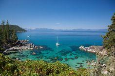 """Secret Cove, Lake Tahoe"" - Photograph of a sailboat at Secret Cove on the East shore of Lake Tahoe."