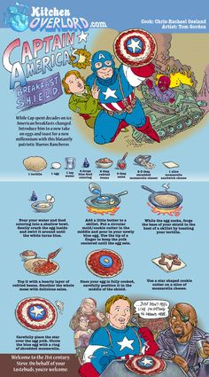 Captain America's shield is reborn in the 21st century as huevos rancheros. Get the recipe at Kitchen Overlord.