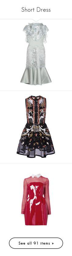 """Short Dress"" by susanp76 ❤ liked on Polyvore featuring dresses, white cutout dresses, lace dress, white dresses, lace sheath dresses, knee length cocktail dresses, elie saab, vestidos, black and sequin mini skirt"