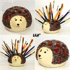 Holder -metal lid, paper clay, plastic straws, paper mache paste, gel medium, acrylic paint, varnish