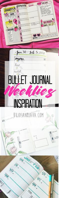 Get inspired by these diverse bullet journal weeklies. From minimalistic layouts to full-color spreads decorated with outstanding artwork. Bullet Journal Banners, Bullet Journal Page, Bullet Journal Weekly Layout, Bullet Journal Hacks, Bullet Journal Spread, Bullet Journals, Bujo, Journal Prompts, Journal Pages