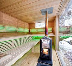 Der Holzofen in der Sauna gibt der Sauna im Garten zusätzlichen Reiz. Outdoor Sauna, Outdoor Decor, Spa, Saunas, Wellness, Hobbit, Nice, Container, Pictures