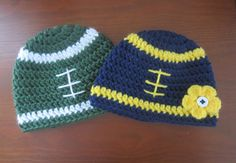 Michigan State or University of Michigan Crochet Football Beanie - Baby Hat - Big 10 team colors available on Etsy, $10.00