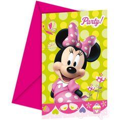 Uitnodiging partijtje Minnie Mouse 6 stuks