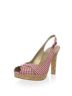 Stuart Weitzman Women's Exsling Platform Sandal (Red Mini Gingham)