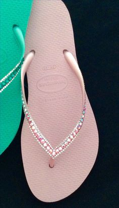 fb23ae9658b6 Pink Flip Flops Blush Crush Slim Havaianas Custom Bling Crystal Sophisticate  Glass Slippers w  Swarovski Jewel Rhinestone Wedding Beach Shoe